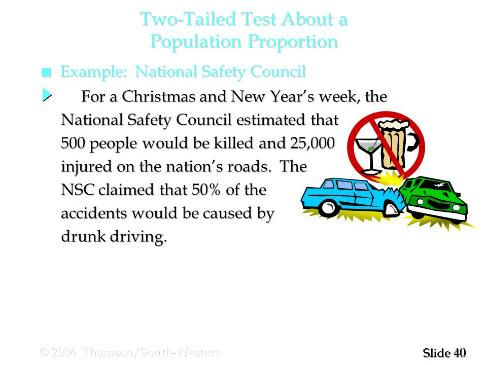 40 Slide © 2006 Thomson/South-Western n Example: National Safety Council For a Christmas and New Year's week, the For a Christmas and New Year's week, the National Safety Council estimated that 500 people would be killed and 25,000 injured on the nation's roads.