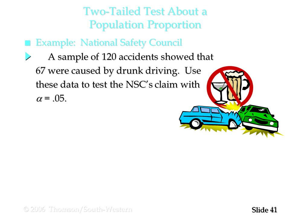 41 Slide © 2006 Thomson/South-Western A sample of 120 accidents showed that A sample of 120 accidents showed that 67 were caused by drunk driving.