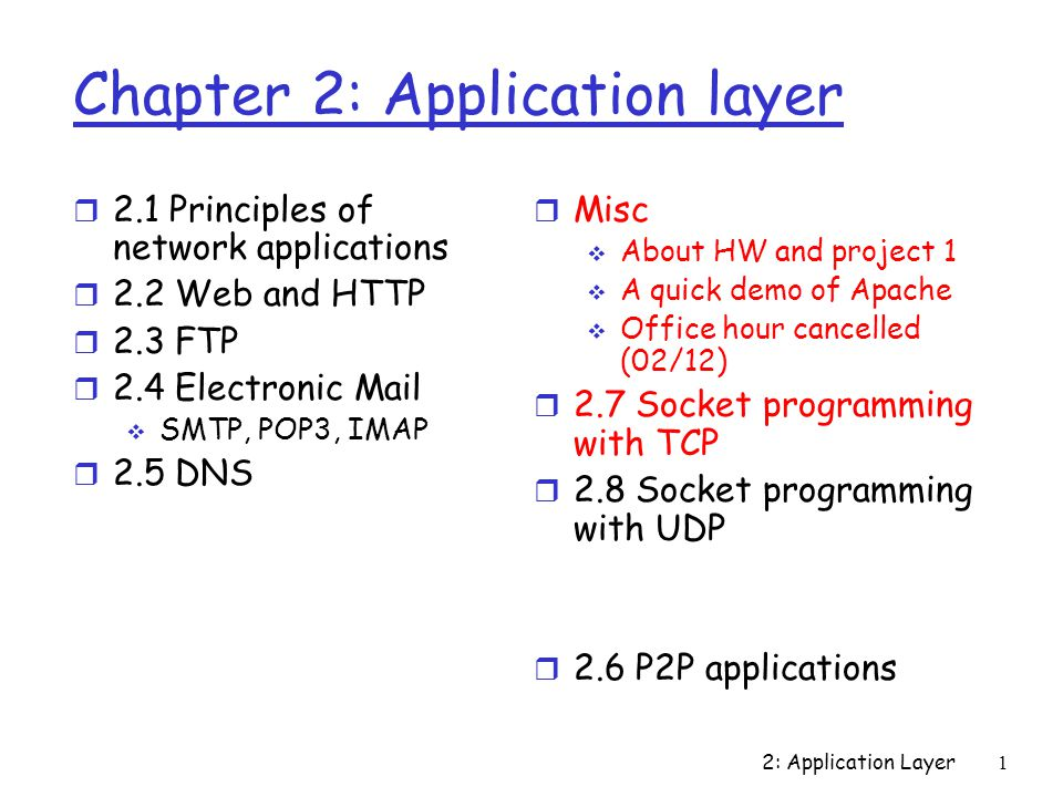 2: Application Layer1 Chapter 2: Application layer r 2.1 Principles of network applications r 2.2 Web and HTTP r 2.3 FTP r 2.4 Electronic Mail  SMTP, POP3, IMAP r 2.5 DNS r Misc  About HW and project 1  A quick demo of Apache  Office hour cancelled (02/12) r 2.7 Socket programming with TCP r 2.8 Socket programming with UDP r 2.6 P2P applications