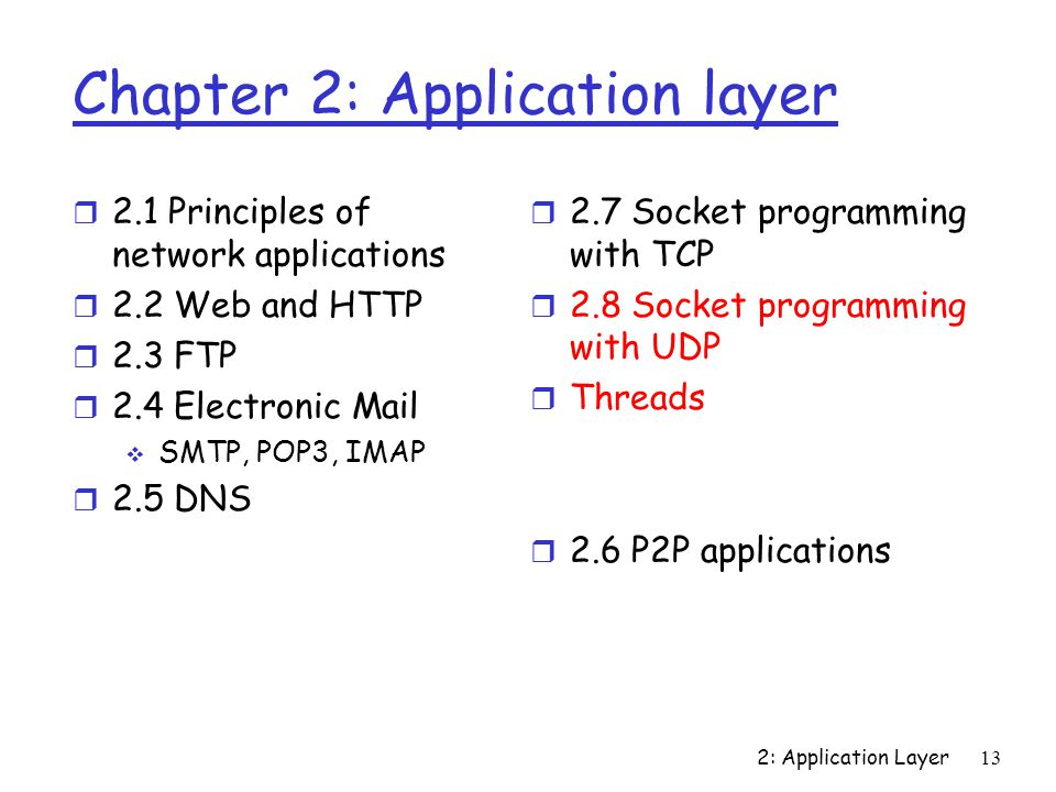 2: Application Layer13 Chapter 2: Application layer r 2.1 Principles of network applications r 2.2 Web and HTTP r 2.3 FTP r 2.4 Electronic Mail  SMTP, POP3, IMAP r 2.5 DNS r 2.7 Socket programming with TCP r 2.8 Socket programming with UDP r Threads r 2.6 P2P applications