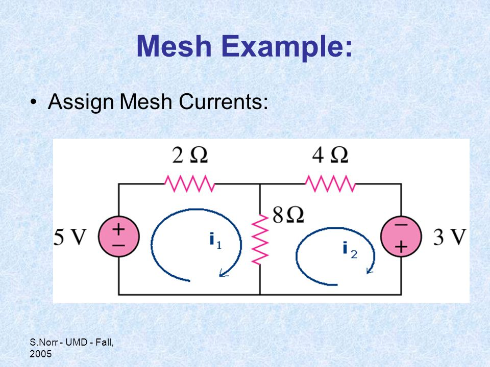 S.Norr - UMD - Fall, 2005 Mesh Example: Assign Mesh Currents: