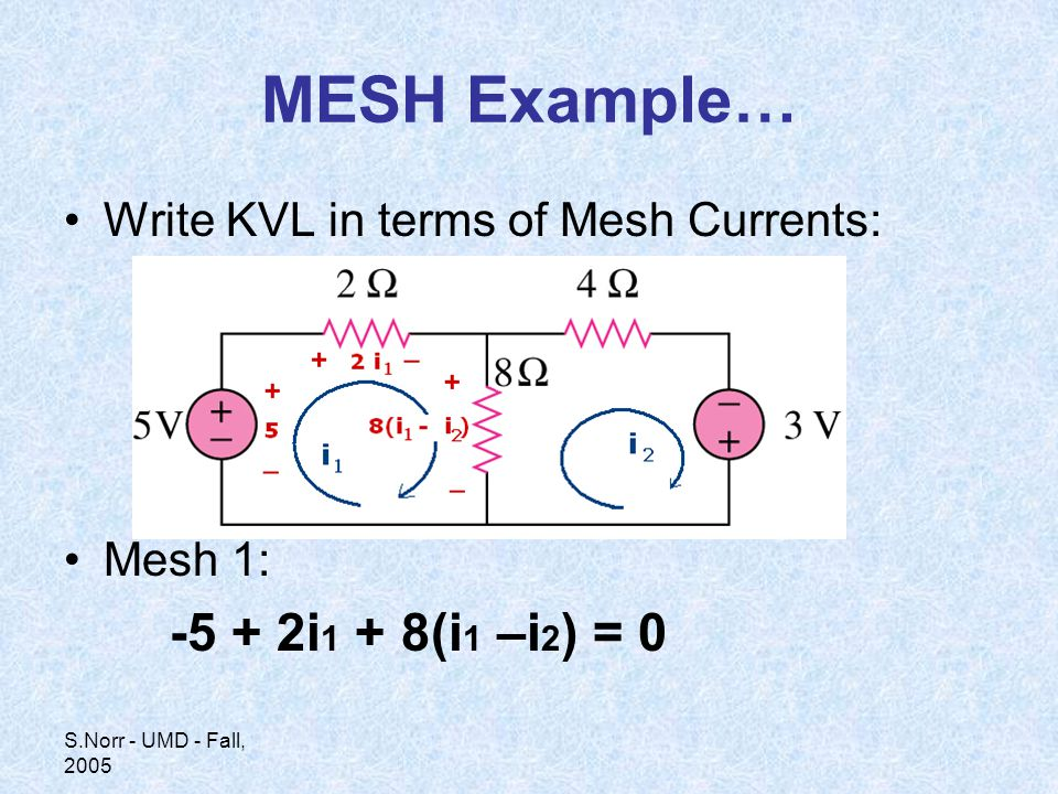 S.Norr - UMD - Fall, 2005 MESH Example… Write KVL in terms of Mesh Currents: Mesh 1: i 1 + 8(i 1 –i 2 ) = 0