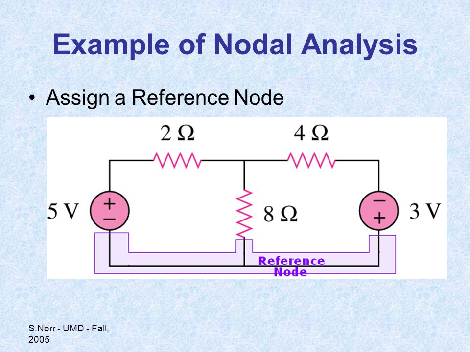 S.Norr - UMD - Fall, 2005 Example of Nodal Analysis Assign a Reference Node