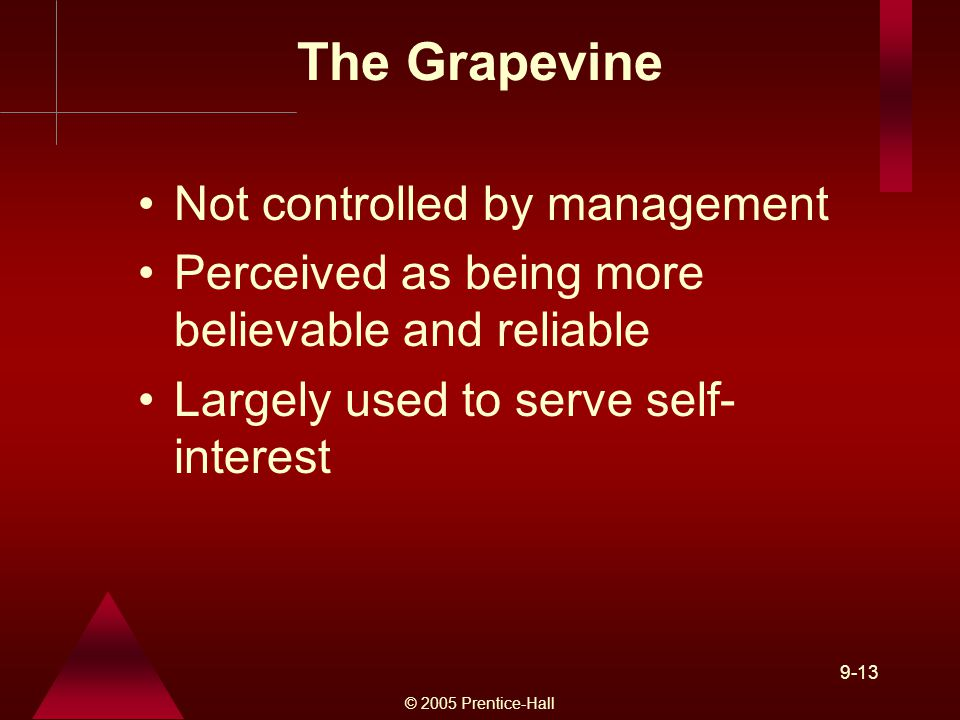 © 2005 Prentice-Hall 9-13 The Grapevine Not controlled by management Perceived as being more believable and reliable Largely used to serve self- interest