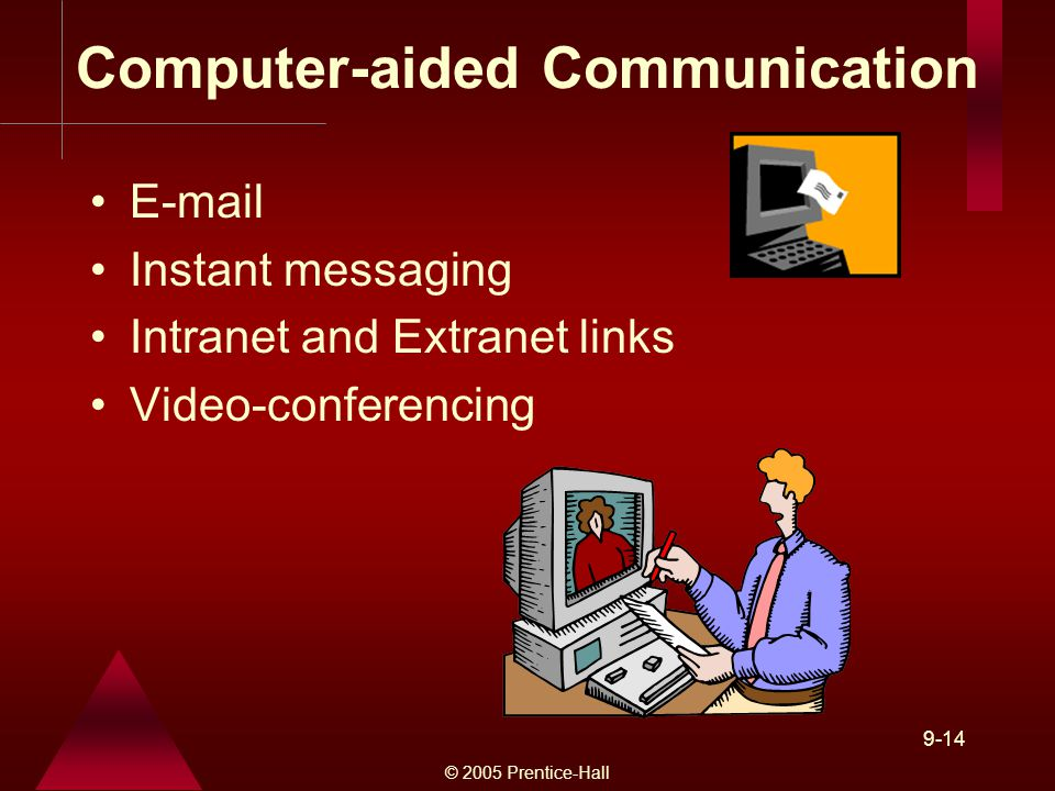 © 2005 Prentice-Hall 9-14 Computer-aided Communication  Instant messaging Intranet and Extranet links Video-conferencing