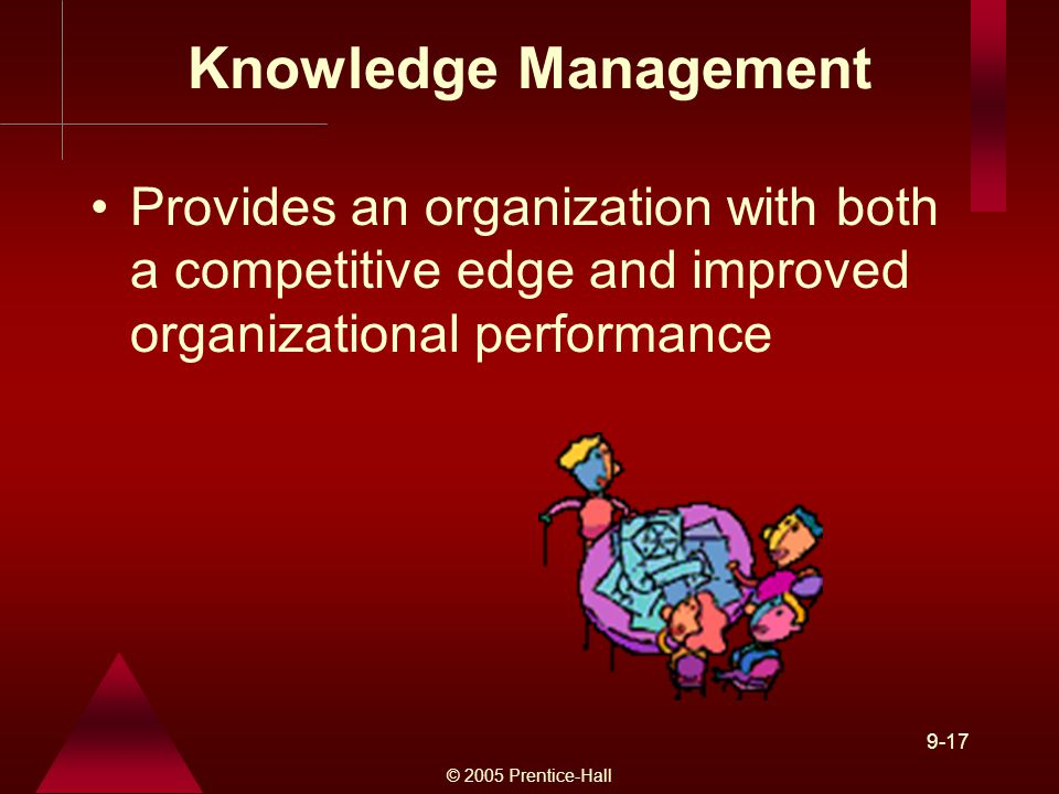 © 2005 Prentice-Hall 9-17 Knowledge Management Provides an organization with both a competitive edge and improved organizational performance