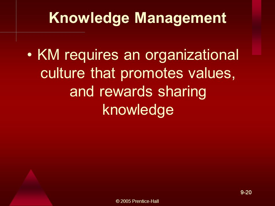 © 2005 Prentice-Hall 9-20 Knowledge Management KM requires an organizational culture that promotes values, and rewards sharing knowledge