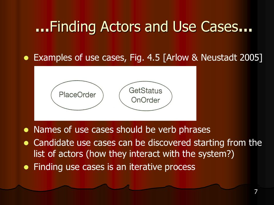 7 …Finding Actors and Use Cases… Examples of use cases, Fig.