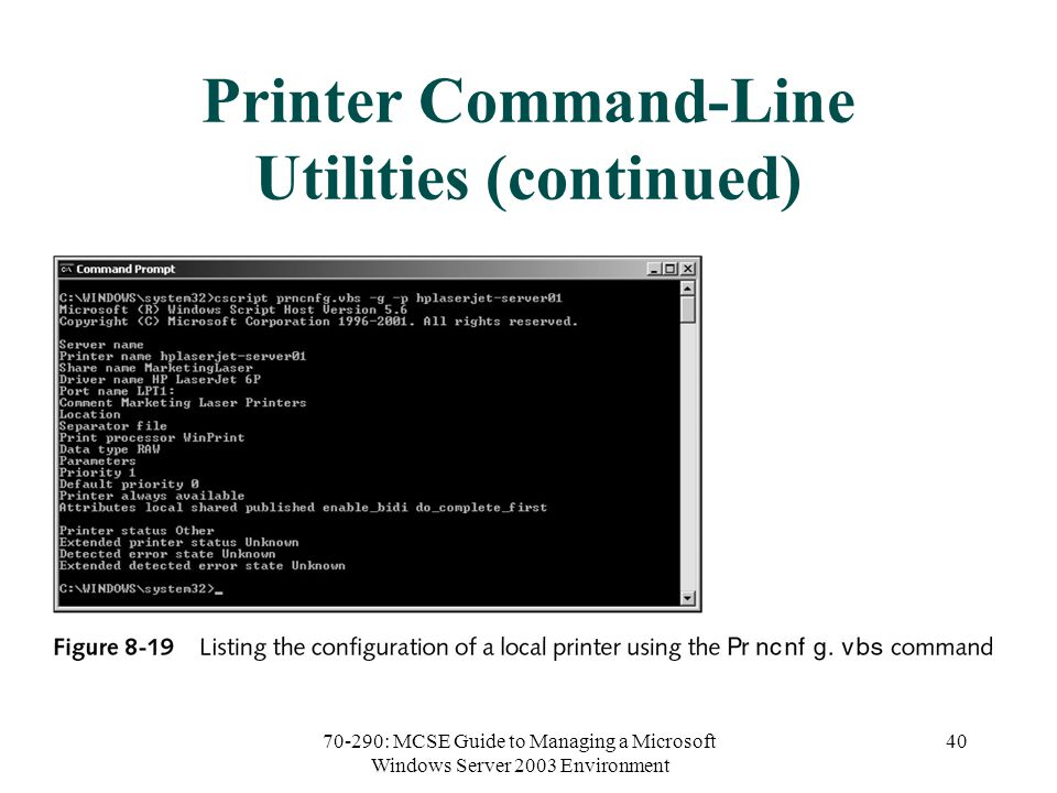 70-290: MCSE Guide to Managing a Microsoft Windows Server 2003 Environment 40 Printer Command-Line Utilities (continued)