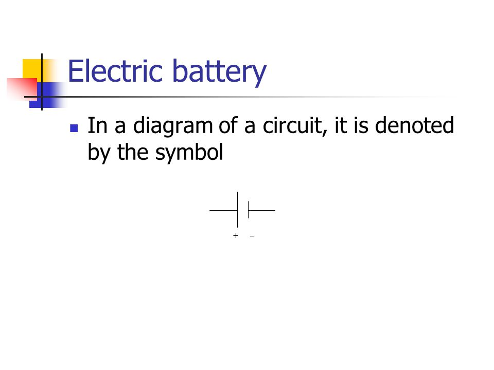 Electric battery In a diagram of a circuit, it is denoted by the symbol + 