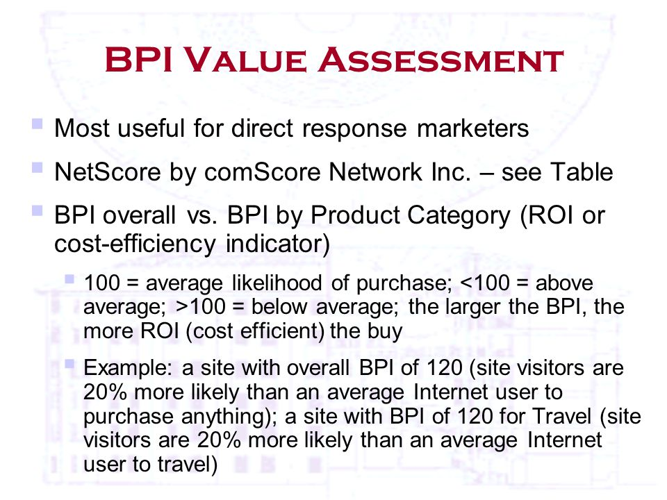BPI Value Assessment  Most useful for direct response marketers  NetScore by comScore Network Inc.
