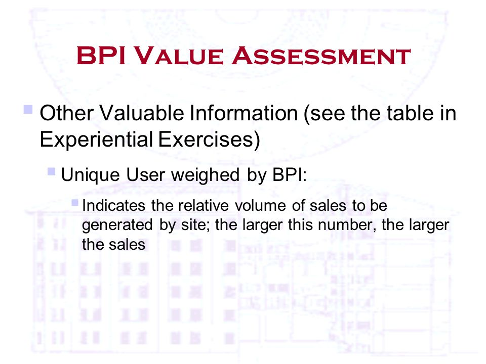 BPI Value Assessment  Other Valuable Information (see the table in Experiential Exercises)  Unique User weighed by BPI:  Indicates the relative volume of sales to be generated by site; the larger this number, the larger the sales