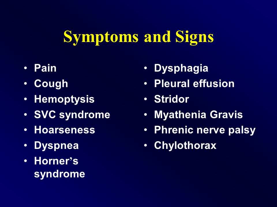 Pain Cough Hemoptysis SVC syndrome Hoarseness Dyspnea Horner ' s syndrome Dysphagia Pleural effusion Stridor Myathenia Gravis Phrenic nerve palsy Chylothorax Symptoms and Signs