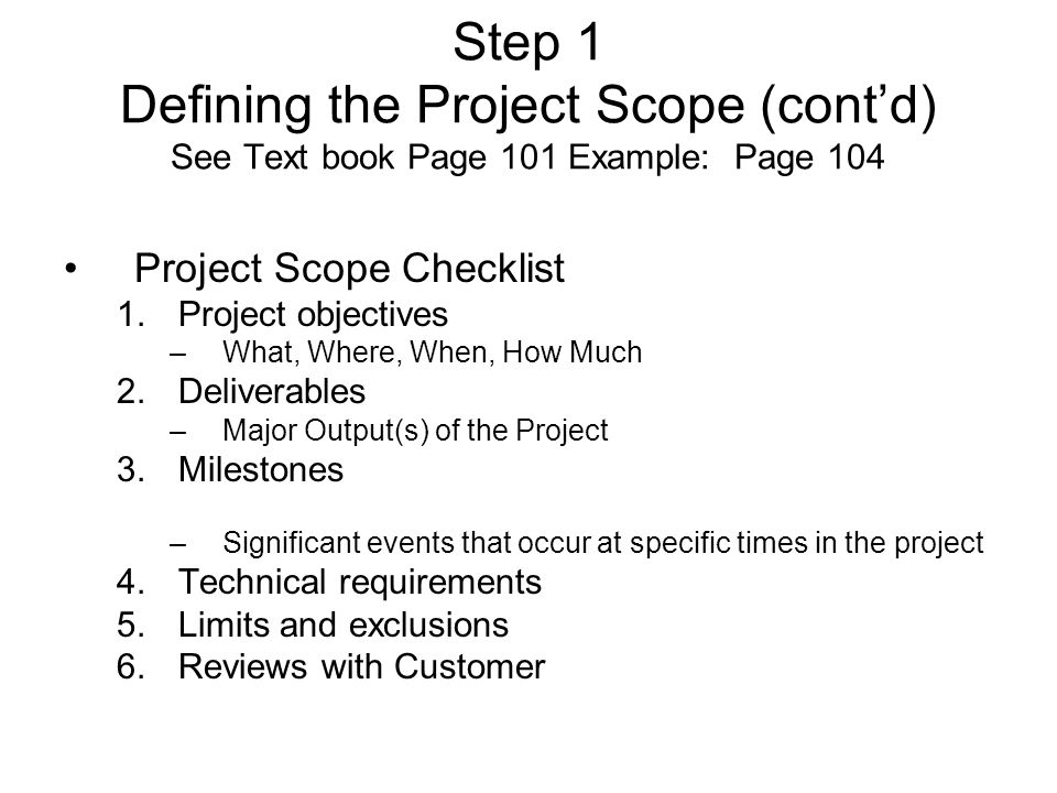6 Step 1 Defining The Project Scope
