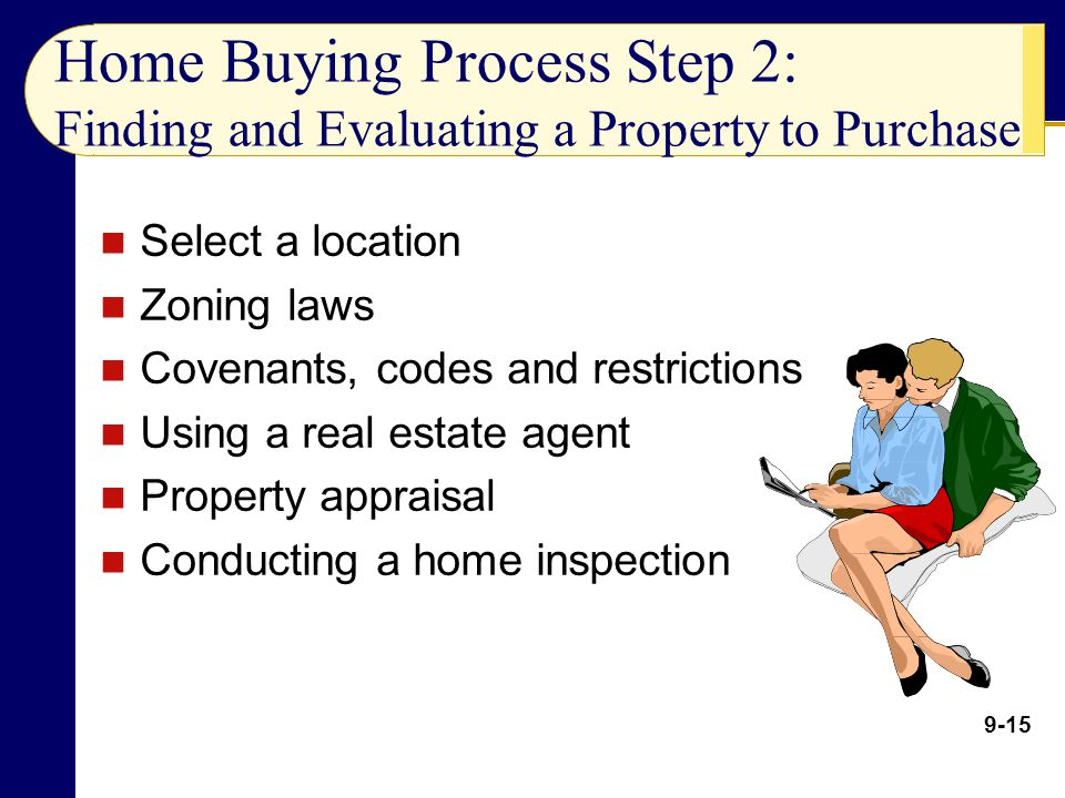 Home Buying Process Step 2: Finding and Evaluating a Property to Purchase Select a location Zoning laws Covenants, codes and restrictions Using a real estate agent Property appraisal Conducting a home inspection 9-15