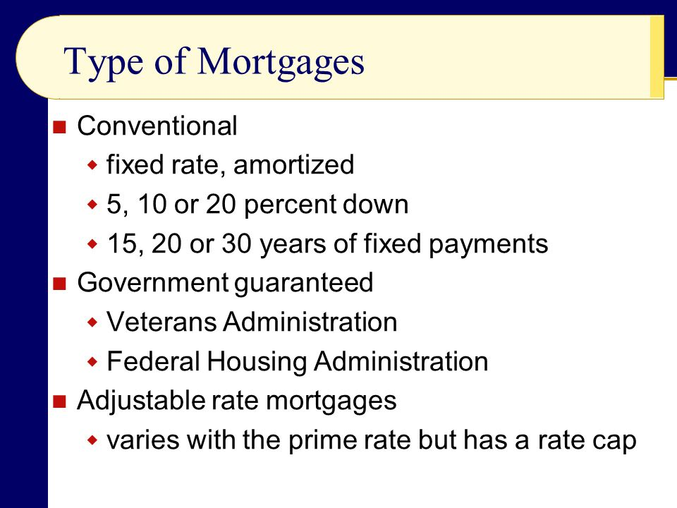 Conventional  fixed rate, amortized  5, 10 or 20 percent down  15, 20 or 30 years of fixed payments Government guaranteed  Veterans Administration  Federal Housing Administration Adjustable rate mortgages  varies with the prime rate but has a rate cap Type of Mortgages