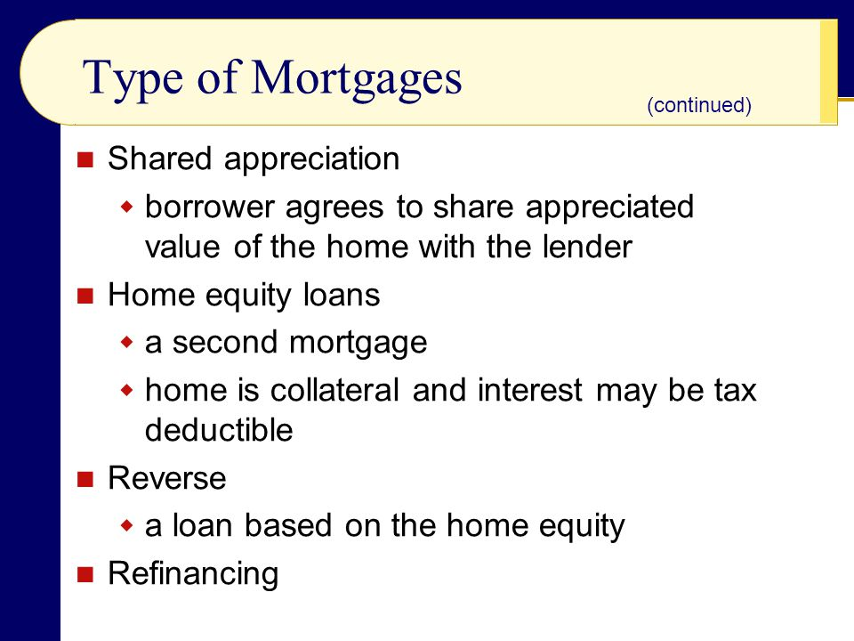 Type of Mortgages Shared appreciation  borrower agrees to share appreciated value of the home with the lender Home equity loans  a second mortgage  home is collateral and interest may be tax deductible Reverse  a loan based on the home equity Refinancing (continued)