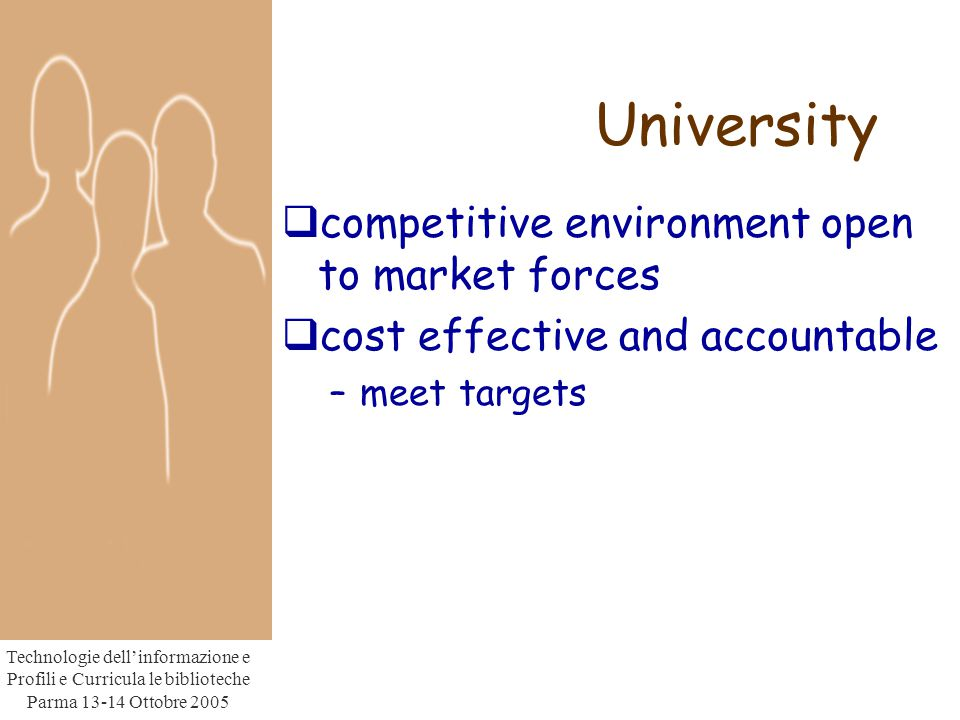 Technologie dell'informazione e Profili e Curricula le biblioteche Parma Ottobre 2005 University  competitive environment open to market forces  cost effective and accountable –meet targets