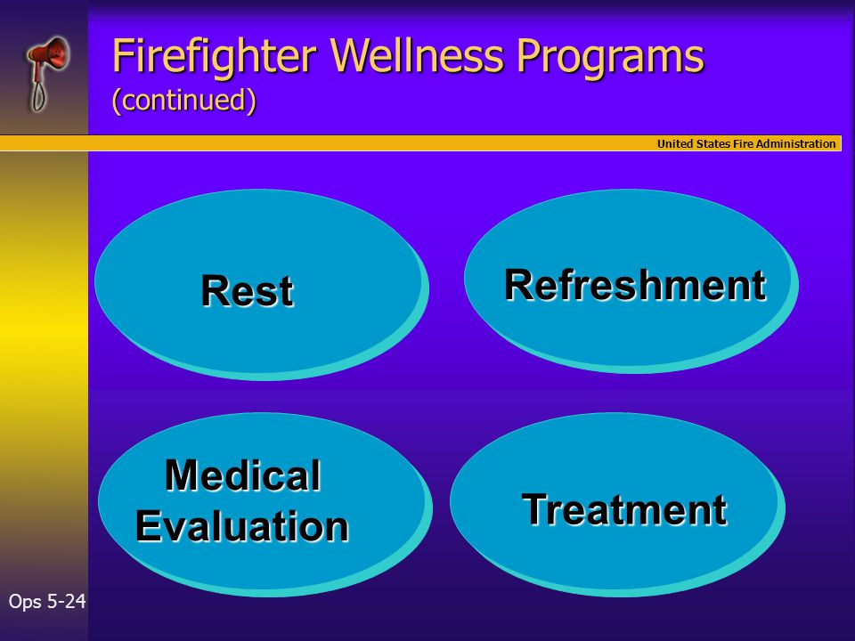 United States Fire Administration Ops 5-24 Rest Medical Evaluation Treatment Refreshment Firefighter Wellness Programs (continued)