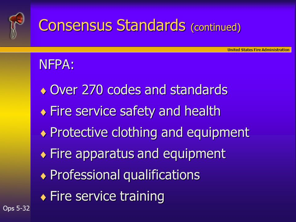 United States Fire Administration Ops 5-32 NFPA:  Over 270 codes and standards  Fire service safety and health  Protective clothing and equipment  Fire apparatus and equipment  Professional qualifications  Fire service training Consensus Standards (continued)