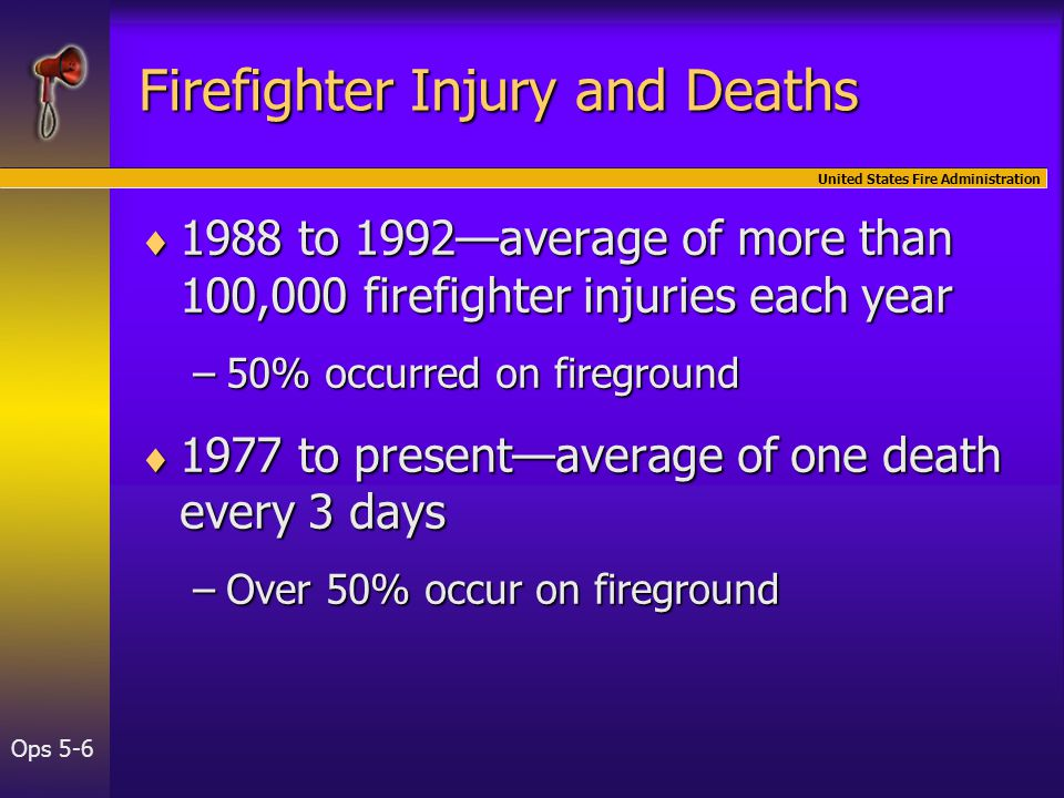 United States Fire Administration Ops 5-6  1988 to 1992—average of more than 100,000 firefighter injuries each year –50% occurred on fireground  1977 to present—average of one death every 3 days –Over 50% occur on fireground Firefighter Injury and Deaths