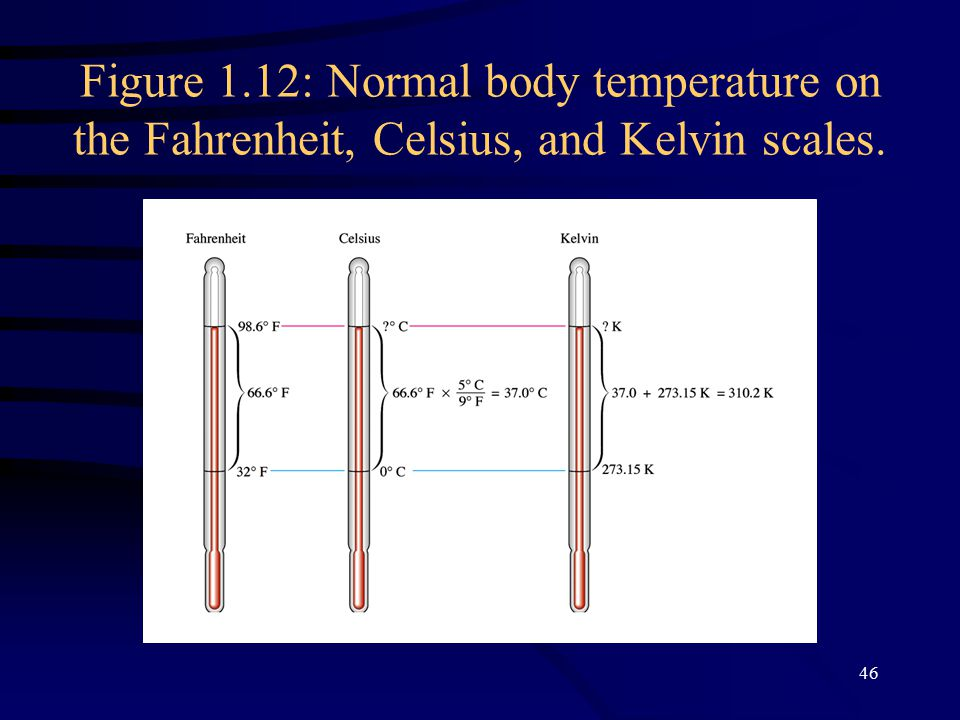 46 Figure 1.12: Normal body temperature on the Fahrenheit, Celsius, and Kelvin scales.