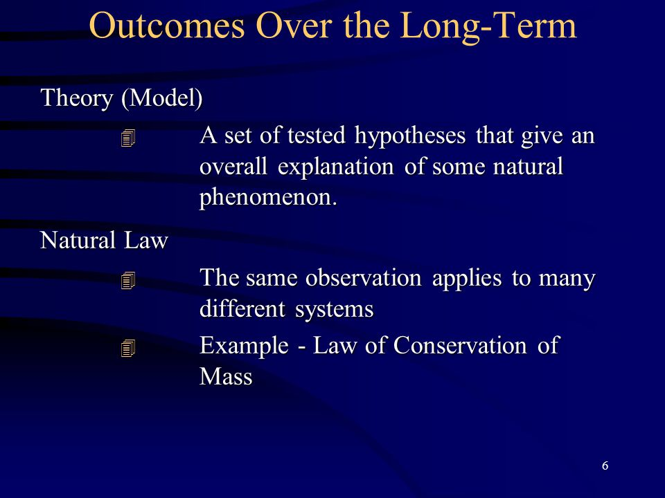 6 Outcomes Over the Long-Term Theory (Model)  A set of tested hypotheses that give an overall explanation of some natural phenomenon.