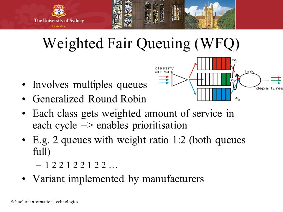 School of Information Technologies Weighted Fair Queuing (WFQ) Involves multiples queues Generalized Round Robin Each class gets weighted amount of service in each cycle => enables prioritisation E.g.