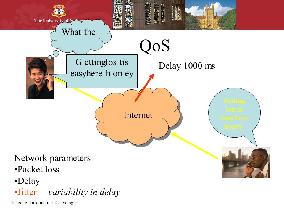 School of Information Technologies QoS Internet Network parameters Packet loss Delay Jitter – variability in delay Getting lost is easy here honey.