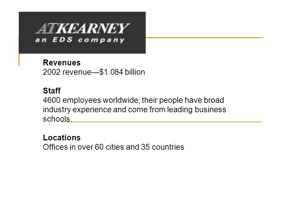 Revenues 2002 revenue—$1.084 billion Staff 4600 employees worldwide; their people have broad industry experience and come from leading business schools.