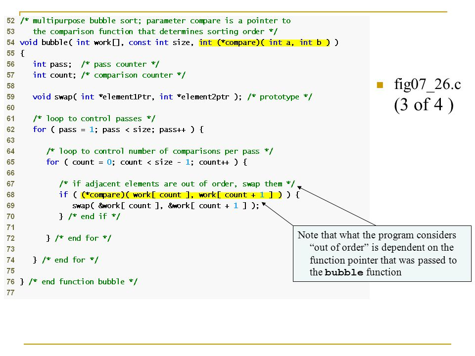 fig07_26.c (3 of 4 ) Note that what the program considers out of order is dependent on the function pointer that was passed to the bubble function