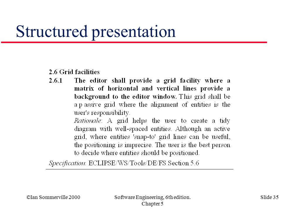 ©Ian Sommerville 2000Software Engineering, 6th edition. Chapter 5 Slide 35 Structured presentation
