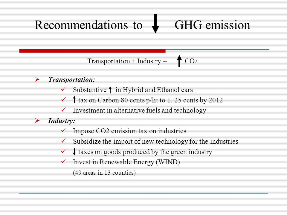 Recommendations to GHG emission Transportation + Industry = CO 2  Transportation: Substantive in Hybrid and Ethanol cars tax on Carbon 80 cents p/lit to 1.