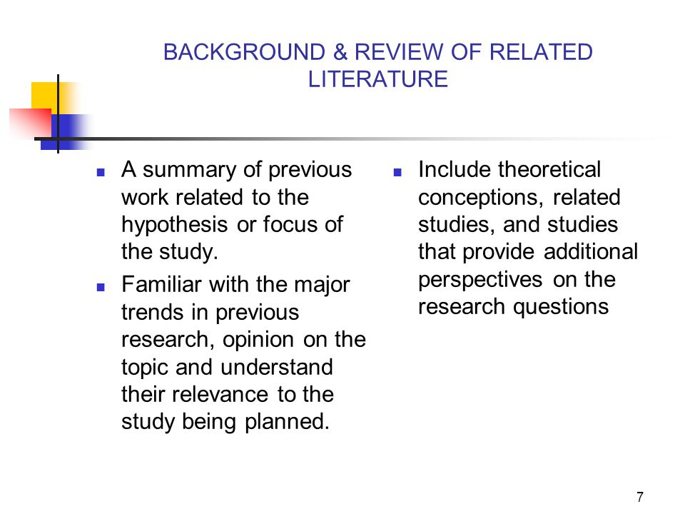 6 Four Topics addressed 1) the purpose, including the researcher's assumptions; 2)the justification for the study; 3) hypotheses, including variables to be investigated; and 4) the definition of the terms