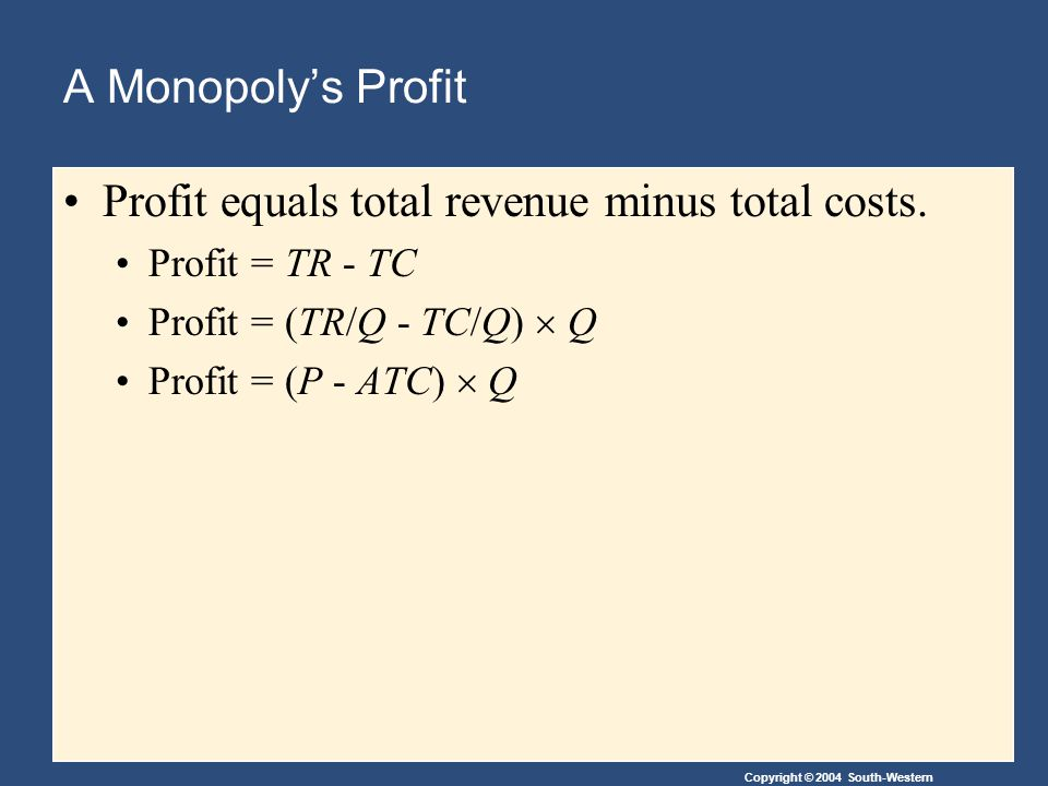 Copyright © 2004 South-Western A Monopoly's Profit Profit equals total revenue minus total costs.