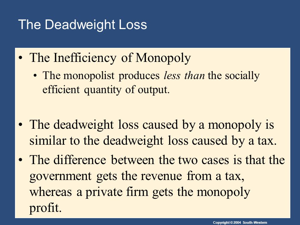 Copyright © 2004 South-Western The Deadweight Loss The Inefficiency of Monopoly The monopolist produces less than the socially efficient quantity of output.
