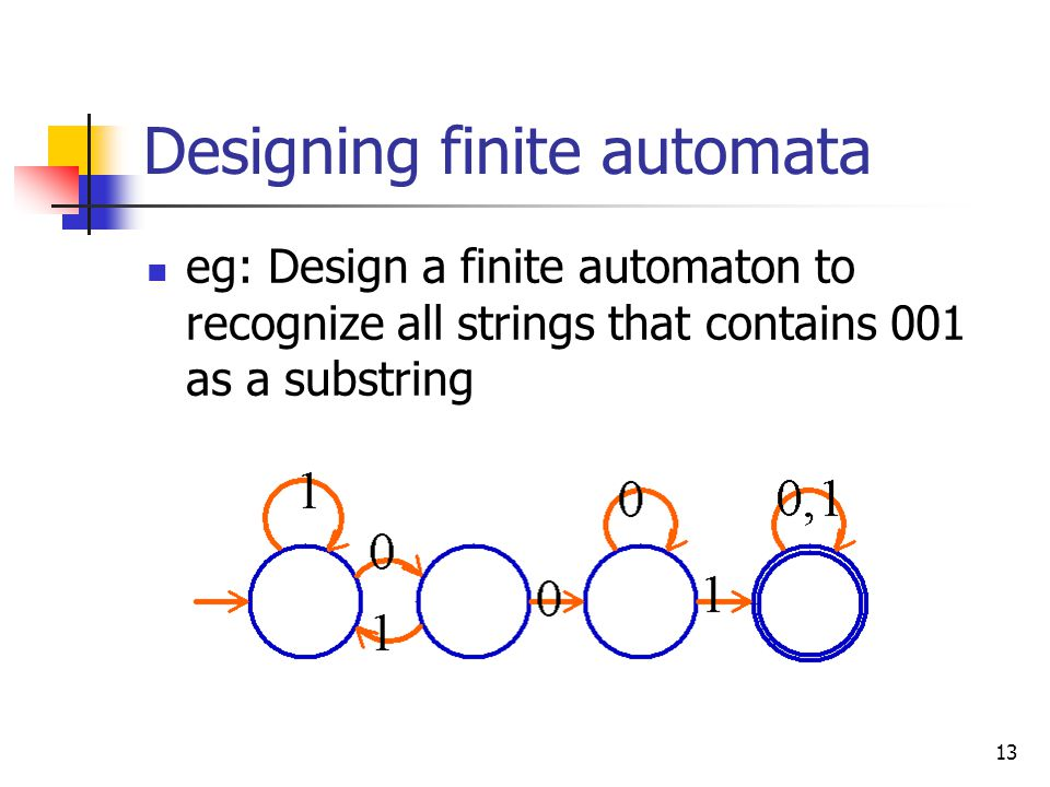 13 Designing finite automata eg: Design a finite automaton to recognize all strings that contains 001 as a substring