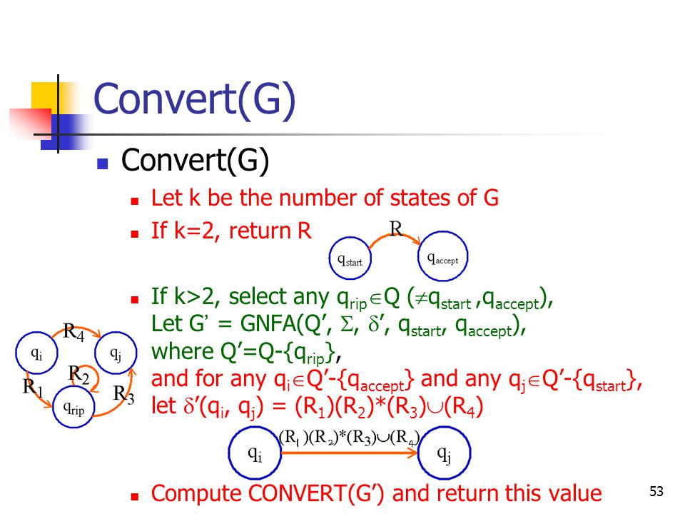 53 Convert(G) Let k be the number of states of G If k=2, return R If k>2, select any q rip  Q (  q start,q accept ), Let G ' = GNFA(Q', ,  ', q start, q accept ), where Q'=Q-{q rip }, and for any q i  Q'-{q accept } and any q j  Q'-{q start }, let  '(q i, q j ) = (R 1 )(R 2 )*(R 3 )  (R 4 ) Compute CONVERT(G') and return this value