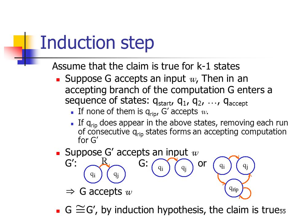 55 Induction step Assume that the claim is true for k-1 states Suppose G accepts an input w, Then in an accepting branch of the computation G enters a sequence of states: q start, q 1, q 2, …, q accept If none of them is q rip, G' accepts w.