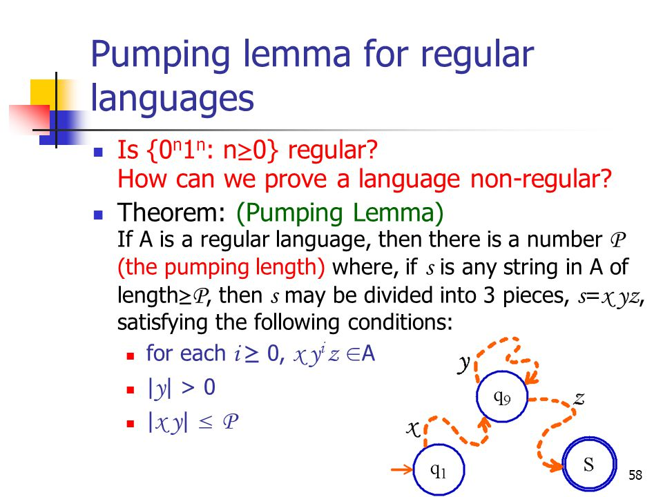 58 Pumping lemma for regular languages Is {0 n 1 n : n ≥ 0} regular.