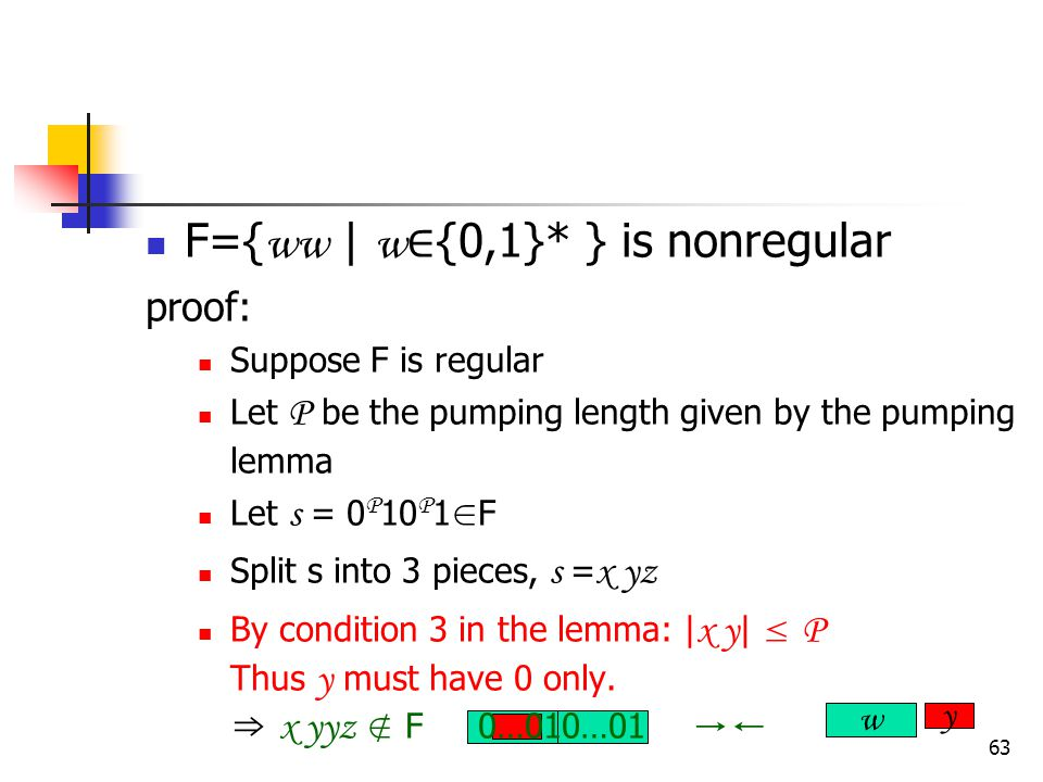 63 F={ ww | w ∈ {0,1}* } is nonregular proof: Suppose F is regular Let P be the pumping length given by the pumping lemma Let s = 0 P 10 P 1 ∈ F Split s into 3 pieces, s = x yz By condition 3 in the lemma: | x y | ≤ P Thus y must have 0 only.