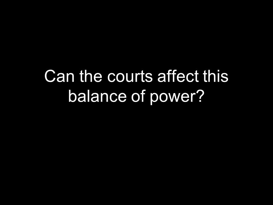 Can the courts affect this balance of power