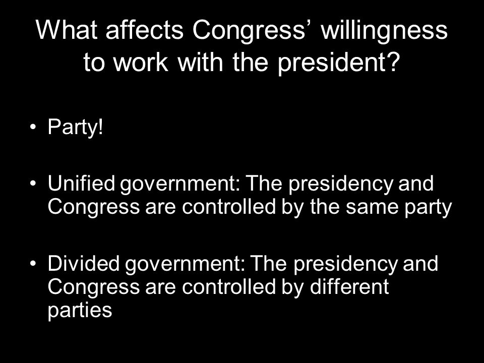 What affects Congress' willingness to work with the president.