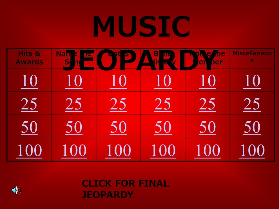 MUSIC JEOPARDY Hits & Awards Name the Song DatesBand History