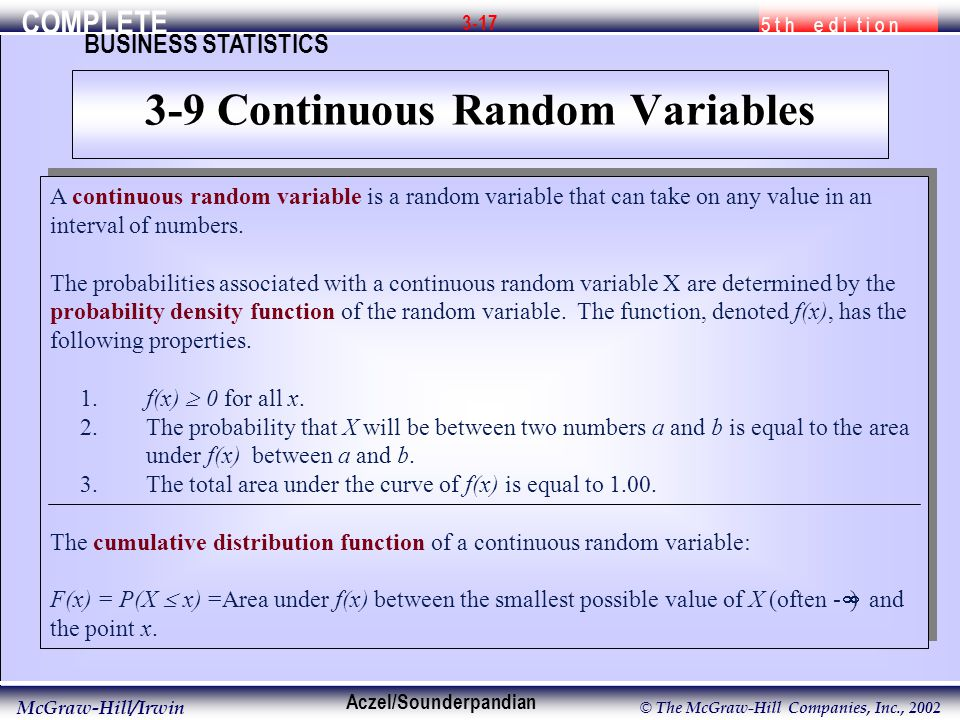 COMPLETE 5 t h e d i t i o n BUSINESS STATISTICS Aczel/Sounderpandian McGraw-Hill/Irwin © The McGraw-Hill Companies, Inc., A continuous random variable is a random variable that can take on any value in an interval of numbers.