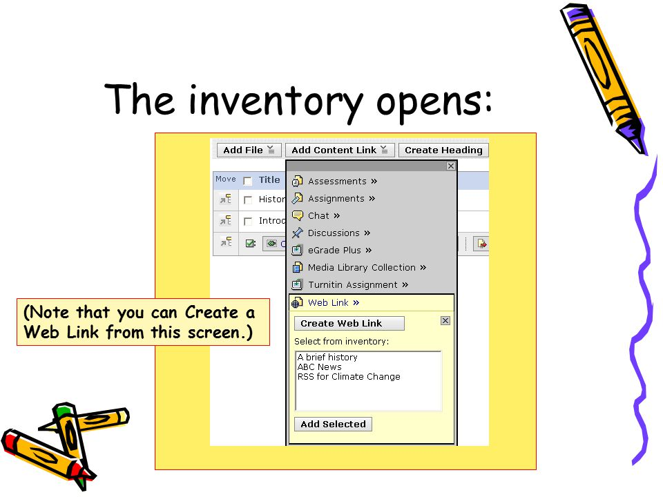 The inventory opens: (Note that you can Create a Web Link from this screen.)