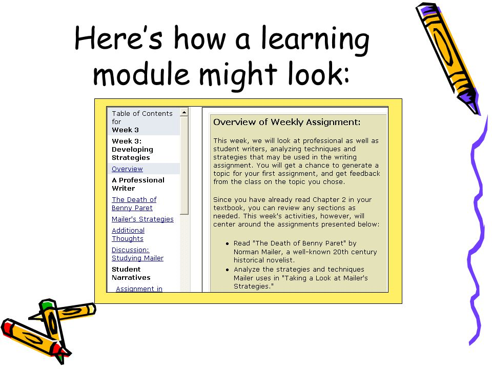 Here's how a learning module might look: