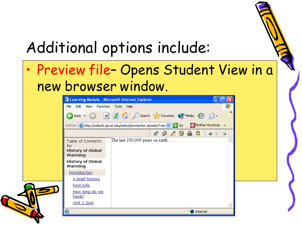 Additional options include: Preview file– Opens Student View in a new browser window.
