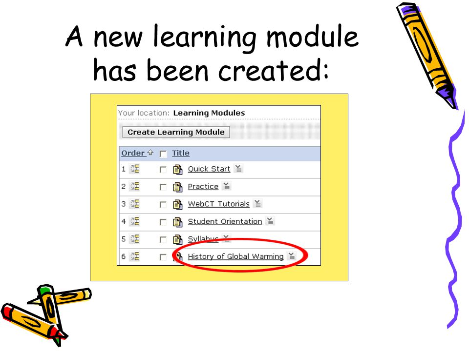 A new learning module has been created: