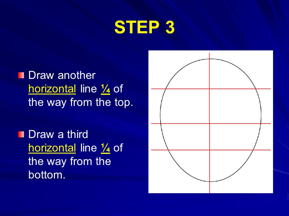 STEP 3 Draw another horizontal line ¼ of the way from the top.